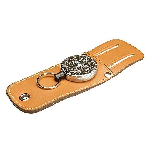 KEY-BAK 0489-804 Tradesman Retractable Key with 48-Inch Kevlar Cord, Black Vinyl Reel, Genuine Leather Tool Pouch and 1.75-Inch Belt Loop, Black by Key-Bak -
