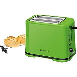 Clatronic Ta 3554Compact Grille-Pain 2Tranches, grille réchauffe-viennoiseries, réglable en continu brunissage, tiroir ramasse-miettes, vert