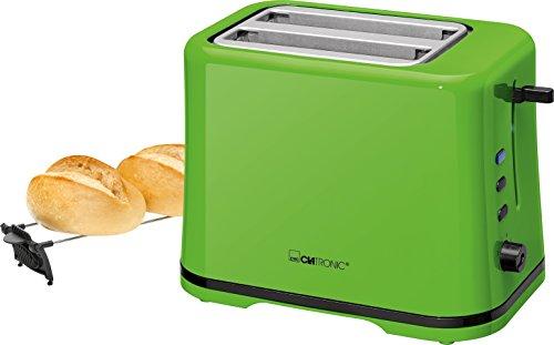 Clatronic TA 3554 Kompakter 2-Scheiben Toaster, Brötchenaufsatz (abnehmbar), Aufwärm, Auftau Schnellstoppfunktion, stufenlos einstellbarer Bräunungsgrad, Krümelschublade