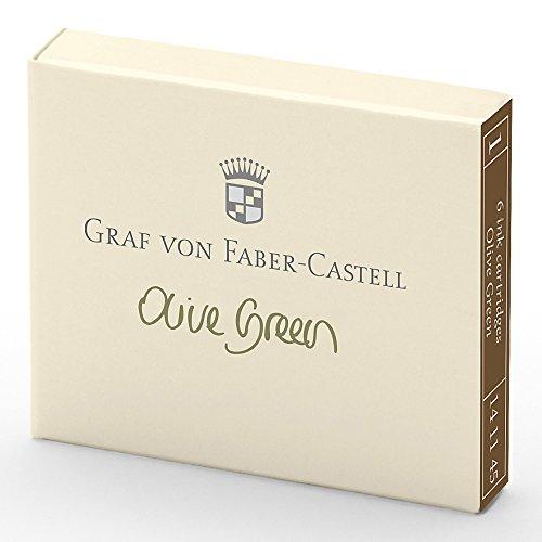 Graf von Faber-Castell 141115 Tintenpatrone, 6 Stück, olive grün