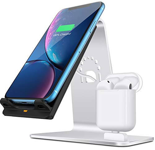 Bestand - 2 in 1 Aluminium AirPods Ladestation & Qi-schnelle kabellose Ladestation für iPhone X/iPhone 8 / iPhone 8 Plus/Samsung S8 und andere Qi-fähigen Geräte, Farbe/Silber (2-qi-empfänger Air)