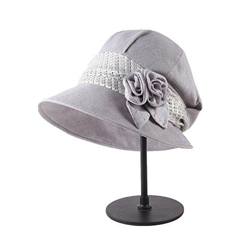 Femmes Mode Été Extérieur Plage Décoration Florale Anti-Uv Chapeau De Soleil Béret Gris
