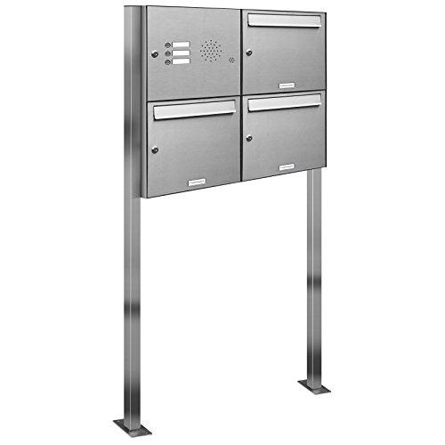 AL Briefkastensysteme 3er Edelstahl Standbriefkasten mit Klingel rostfrei als 3 Fach Briefkastenanlage in Postkasten Briefkasten Design modern