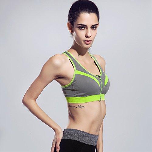 Soutien-gorge de sport Zip Front Racerback pour femmes HENWS Support complet à impact élevé pour la forme physique dentraînement Gray