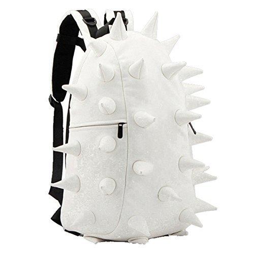 weiches PU Unisex Damen Herren IGEL STACHEL PUNK Rucksack Tablet Campus Schultasche (Milch Weiß)