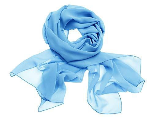 Dresstells Chiffon Schal Stola für Abendkleider in Verschiedenen Farben Blue 200cmX75cm/ Large -