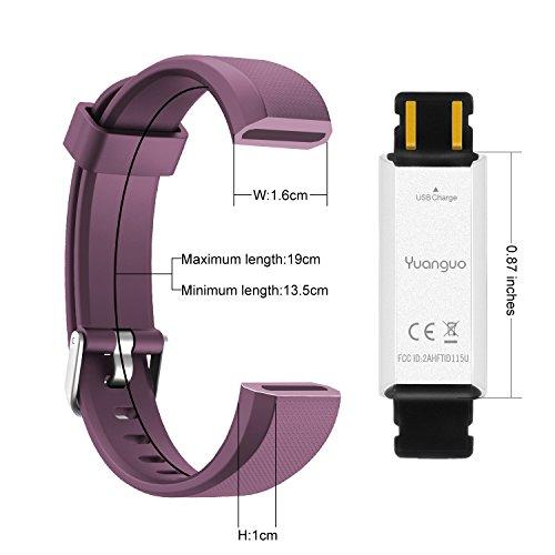 Pulsera Inteligente Reloj Deportivo Yuanguo Podómetro Monitor de Actividad, Monitor de Sueño Pulsera Cuenta Pasos y Calorias, Pulsera Deporte Impermeable con Pulseras de Repuesto para Mujer Hombr Niño (Morado)