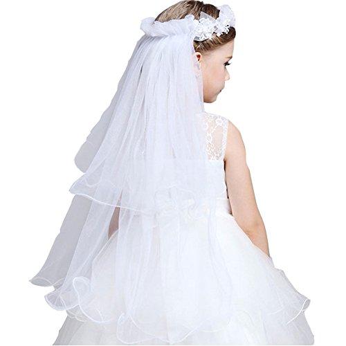 GSCH 75CM Braut-Kostüm Mädchen Kinder Perle Garland mit Schleier(2 Layer ) (Weiß) (Haar Accessoires Für Tanz Kostüme)