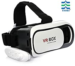 US1984 Fully Adjustable virtual reality lenses with FREE Bluetooth remote - VR glasses with HD lenses .Works with leading mobile brands like Apple iphone 6 and plus, Samsung, Xiaomi,Lenovo,Oneplus,Moto, LG, nexus,Google Pixel,LeEco le2 and other mobiles .Experience 360 videos, 3D and VR games like never before.