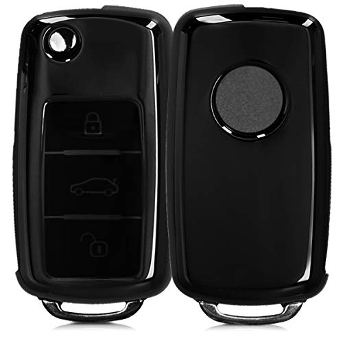 kwmobile Autoschlüssel Hülle für VW Skoda Seat - TPU Schutzhülle Schlüsselhülle Cover für VW Skoda Seat 3-Tasten Autoschlüssel Hochglanz Schwarz
