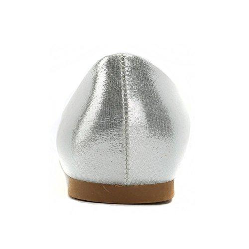 Alexis Leroy Damen Geschlossene Ballerinas Spitzschuh Ebenen Schuhe Silber