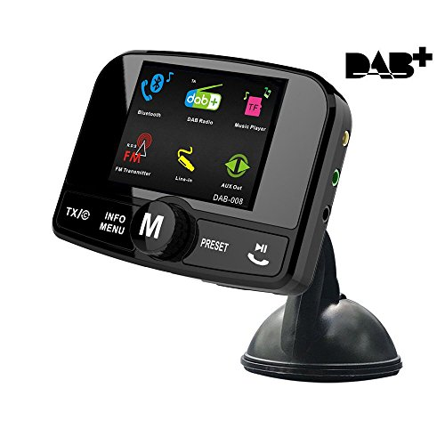 "Auto DAB+ Radio Adapter, SAVORI 2.4"" Digital Radio DAB mit Bluetooth FM Transmitter + TF Karten + Aux Ausgang + Freisprecheinrichtung + Dual USB Kfz - Ladegerät DAB Adapter Auto - Bunt"