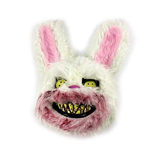 M-PENG Blutige Böse Killer-Maske für Kaninchen, Horror-Maske, weiß, Halloween, für Festivals, Cosplay, Halloween, Kostüm, Party, Rave 25 * 35cm weiß (Böse Kaninchen Kostüm)