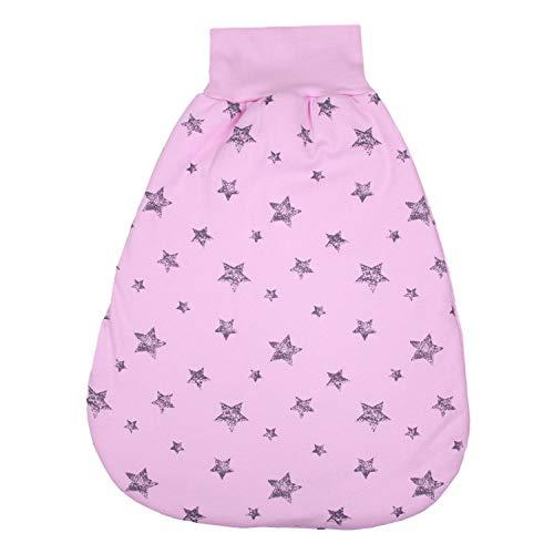 TupTam Baby Unisex Strampelsack mit breitem Bund Winter, Farbe: Graue Sterne Rosa, Größe: 0-6 Monate