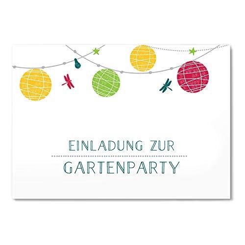 greetinks 15 x Einladungskarten für Geburtstag 'Lampions' in Weiß   Personalisierte Einladungen zum selbst gestalten   15 Stück Geburtstagseinladungen - Einladungen Party & Jugendweihe