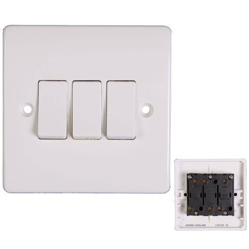 Price comparison product image POWERSTAR white finish electric light switch socket electrical wall plug 10A 13A switches (3 Gang 1 Way)