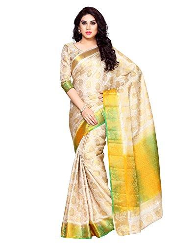 Mimosa By Kupinda Women's Art Silk Saree Kanchipuram Style (Latest Designer Sarees /Party wear sarees /New collection sarees) (4157-256-HWT-MLTY) Color