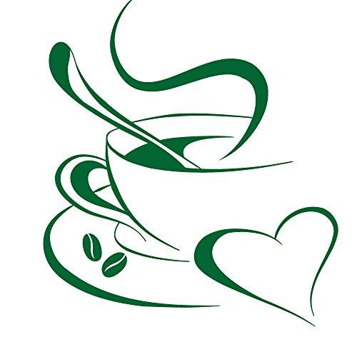 Grandora Wandtattoo Kaffetasse Herz I grün (BxH) 20 x 23 cm I Kaffee Tasse Bohnen selbstklebend Küche Aufkleber Wandaufkleber Wandsticker W3040 Green Espresso-tasse