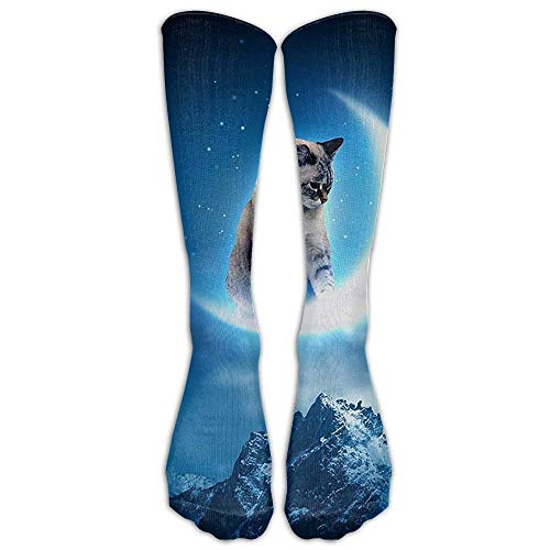 nnmaw High Boots Crew Moon Dog Compression Socks Comfortable Long Dress for Men Women