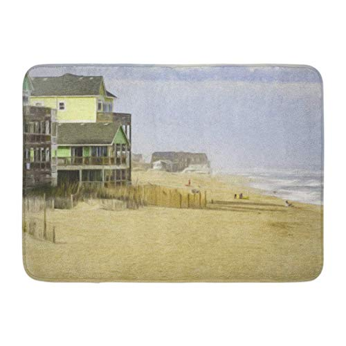 ghkfgkfgk Doormats Bath Rugs Outdoor/Indoor Door Mat Oceanside Beach at Rodanthe on Hatteras Island in The Outer Banks of North Carolina USA Digital Painting Bathroom Decor Rug 23.6 x 15.7 Inch