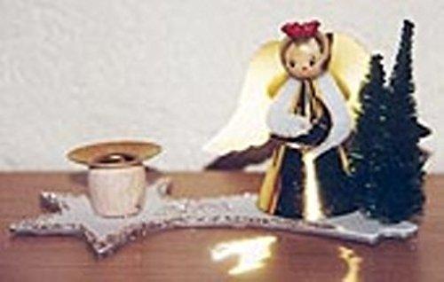 Nostalgischer Kerzenhalter Weihnachtsengel Engel Komet Tanne Set 5 Stück Kunststoff Pappe 16 x 9 cm