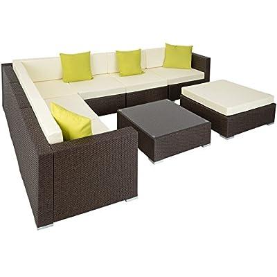 TecTake Aluminium luxury rattan garden furniture sofa set outdoor wicker incl. pillows - different colours -