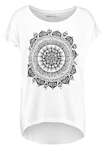 Even&Odd T-Shirt Damen in Weiß, Dunkelgrau o. Schwarz, Printshirt lässig und im Hippie Style, Kurzarm Oberteil mit Aufdruck & Rundhals-Ausschnitt, XS (Kiss T-shirt Print)