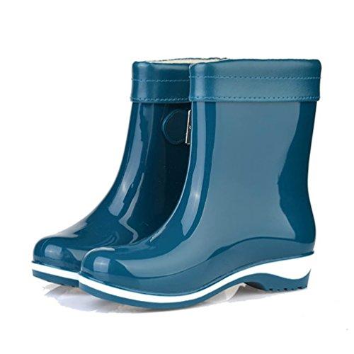 Schuhe Frauen Boots Lederstiefel Stiefel Lvrao Wasserdichte Gummistiefel Schnee Damenstiefel Regen Stiefeletten Blau 6Sn8x