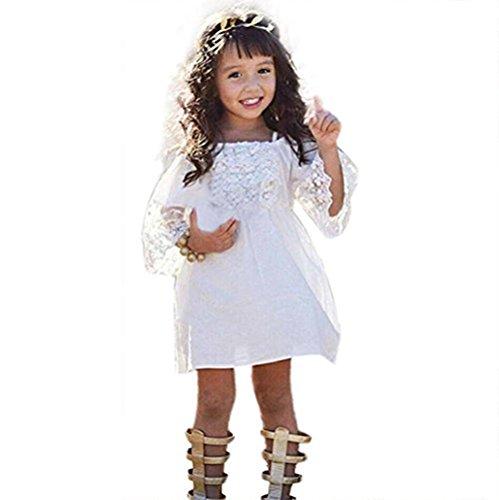 AMUSTER.DAN Mädchen Prinzessin Kleid Kinder Baby Party Hochzeit Festzug Weiß Spitze Kleider (Für Prinzessin Kostüm 1 Jahr Märchen Alt)