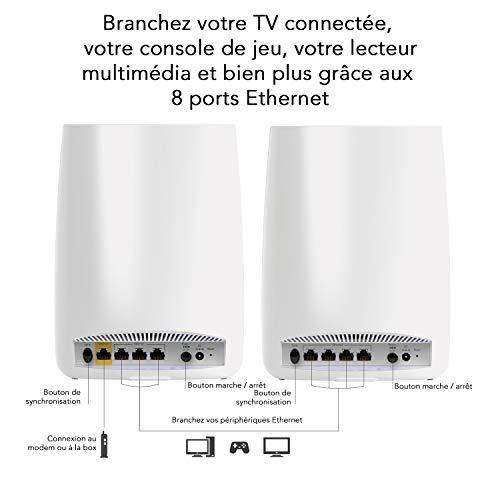 41%2BS7ZLyx5L [Bon Arlo !  NETGEAR ORBI Système Wifi Mesh amplificateur ultra puissant RBK50 (1 routeur + 1 satellite extender) - Jusqu'à 350m...