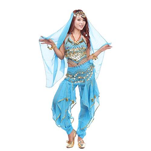 Best Dance, Bauchtanz-Kostüm-Set, 4-teilig, mit Oberteil, Hose, Hüftschal, Schleier und mit Münzen (Rot Prinzessin Jasmin Kostüm)