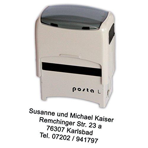 Stempel Posta Modell L mit Ihrem Wunschtext, für bis zu 4 Zeilen Text, für zigtausend Abdrücke