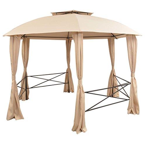 Festnight gazebo padiglione esagonale con tende beige richiudibile telaio in acciaio verniciato da giardino/patio/prato per esterni 360x265 cm