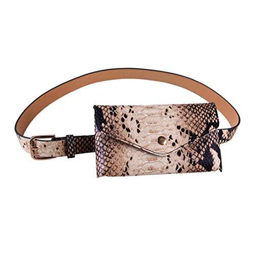 Para Mujer Correa De Cuero Del Paquete De Fanny Con La Correa Desmontable De Piel De Serpiente Bolsa De La Cintura Cinturón De La Moda Bolsas