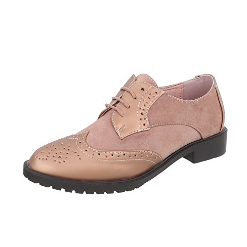 Ital-Design Chaussures Femme Mocassins Bloc Chaussures a Laniere rose or BL676-SP