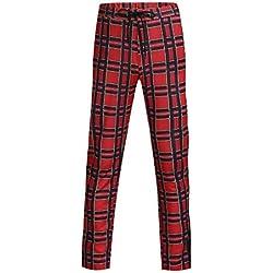 LuckyGirls Pantalones Casual para Hombre Cuadros Skinny Pants Pantalones Deportivos Largos (L,Rojo)