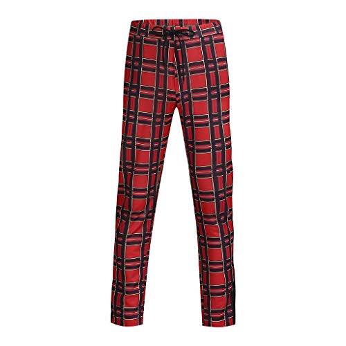 LuckyGirls Pantalones Casual Hombre Cuadros Skinny