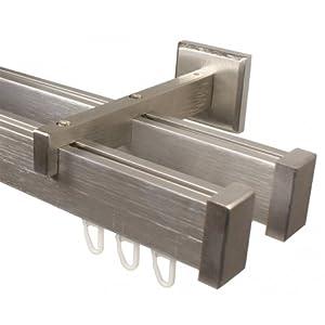 eckige Design Innenlauf Gardinenstange 2-läufig aus Aluminium in Edelstahl Optik 200 cm