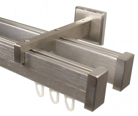 eckige Design Innenlauf Gardinenstange 2-läufig aus Aluminium in Edelstahl Optik 240 cm (2 x 120 cm)