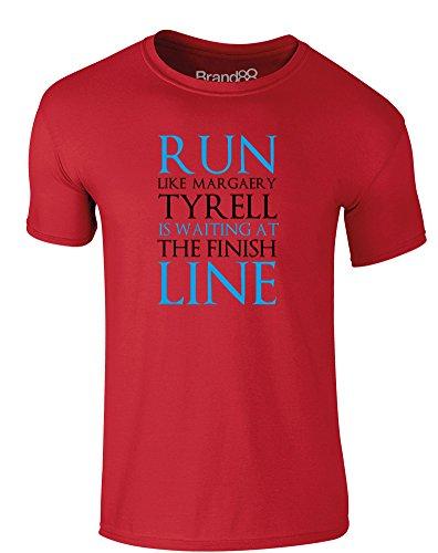 Brand88 - Run Like Margaery Tyrell is Waiting at..., Erwachsene Gedrucktes T-Shirt Rote/Schwarz
