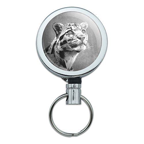 Alle Metall Retractable Reel ID Badge Key Kartenhalter mit Gürtelclip Tiere Clouded Leopard with Sad Eyes Vintage