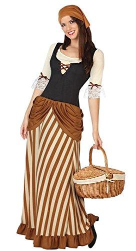 Este disfraz de campesina para adulto incluye vestido y pañuelo (zapatos y cesta no incluidos).Este vestido largo es de poliéster. El pecho tiene un corsé negro con lazos. Las mangas son de 3/4 beiges que acaban en falso encaje blanco y cintas marron...