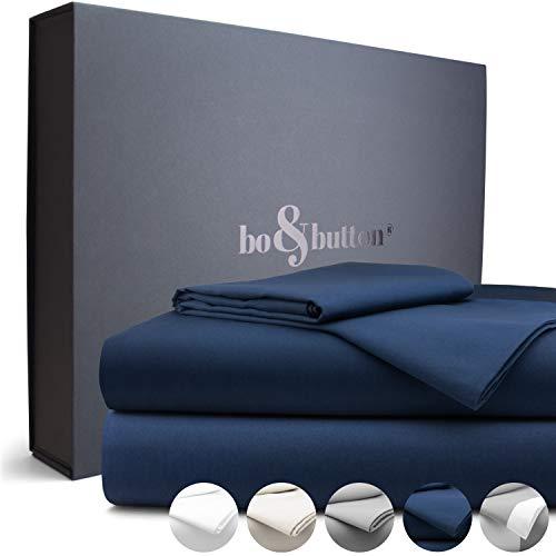 bo&button® Echte Luxusbettwäsche zum besten Preis | Bettwäsche Set, 2 teilig | Superweiches Mako Satin aus 100% feinster Bio Baumwolle | Größe 135 x 200 + 80 x 80 cm, Farbe Navy/Dunkelblau/Königsblau