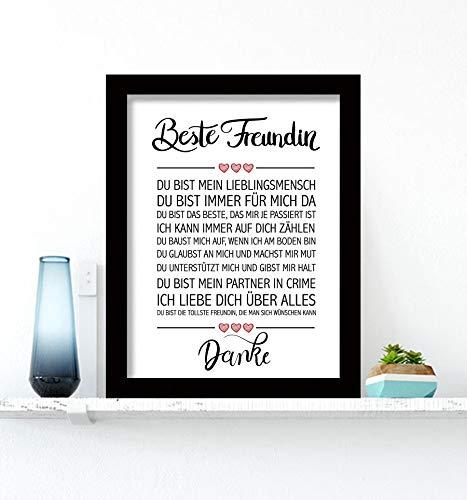 Close Up Beste Freundin - Danke Zitate Poster - Deko Geschenk zum Geburtstag, Weihnachten, jeden Tag - 30 x 40 cm, Premium Qualität - mit schwarzem Rahmen