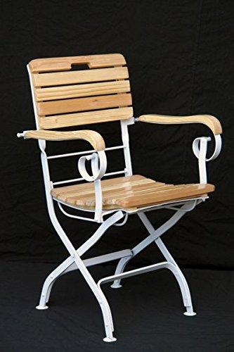 Walt-Deko Chaise pliante Blanc Marron 89 cm pour extérieur en bois