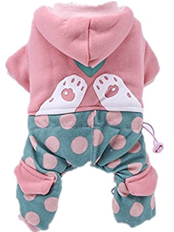 QCPETS Pink new autumn and winter thick warm casual pet dog tetrapod cotton hoodie