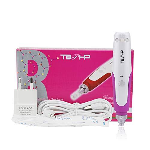 TBPHP dermapen,dermaroller elektrisch Microneedling pen verstellbare Nadellänge und Geschwindigkeit 0.25mm-2.0mm(incl. 2x Aufsatz mit 12 microneedling gerät)
