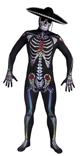 Sugar Skull Traditionellen Kostüm - DAY OF THE DEAD Sugar Skull Skelett Skin Suit Halloween Fancy Dress Kostüm für Herren mit Deluxe schwarz Filz Sombrero von Ilovefancydress® mexikanischen Spanisch hilft Dia de los Muertos (in small-xl)
