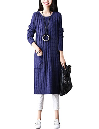 Youlee Women's Winter Autumn Round Collar Long Sweater Violet