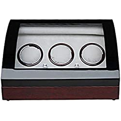 Watch winder Lindberg&Sons Black and Brown for 3 self-winding watches and capacity for 6 additional watches UB8079blcr